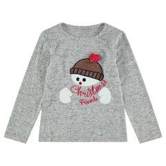 Tee-shirt manches longues chiné esprit Noël avec bonhomme de neige brodé