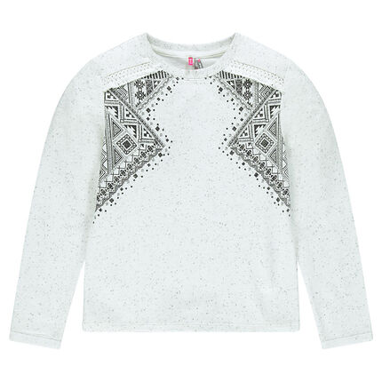 Junior - Sweat en molleton avec print ethnique et franges