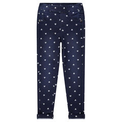 Jegging effet used avec coeurs all-over