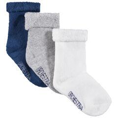 Lot de 3 paires de chaussettes unies avec col en bouclettes retournées