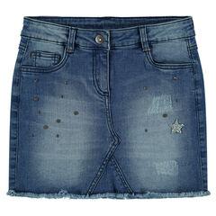 Junior - Jupe en jeans avec strass et clous fantaisie