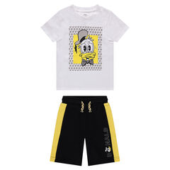 Ensemble tee-shirt print Donald Duck et bermuda en molleton bicolore