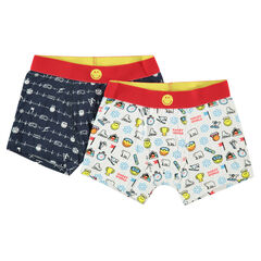 Lot de 2 boxers en coton avec motif Smiley