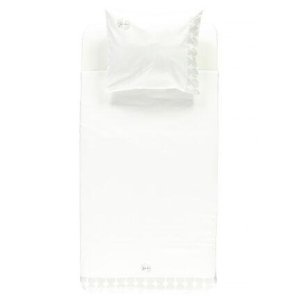 Parure drap plat + taie d'oreiller avec motif placé - 100 x 75 cm