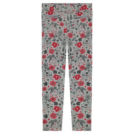 Jegging en milano imprimé fleurs all-over avec poches zippées