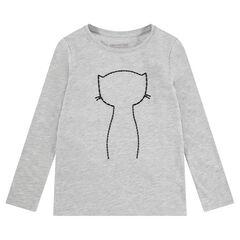 Tee-shirt manches longues en jersey avec chat et badges sequins adhésifs