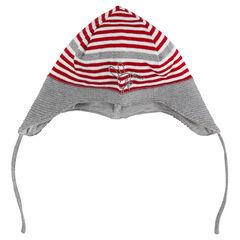 Bonnet péruvien en tricot rayé avec lapin brodé