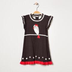 Robe en tricot avec oiseau et pois en jacquard