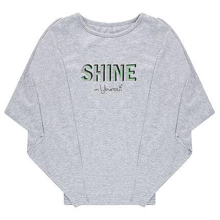 Tee-shirt manches chauve-souris avec message en foil iridescent