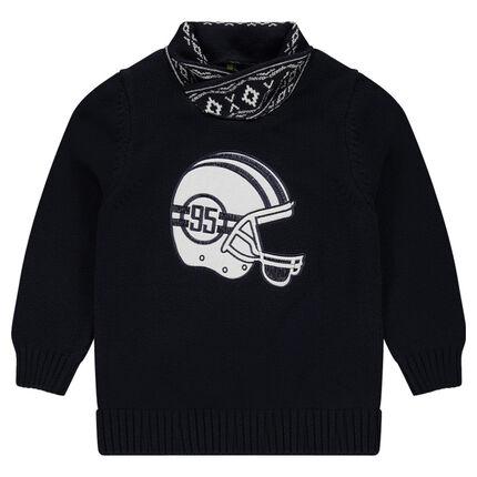 Pull en tricot avec casque patché et col fantaisie