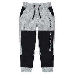 Pantalon de jogging en molleton avec inscriptions printées