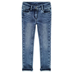 Jeans slim en molleton effet denim