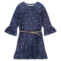Junior - Robe manches 3/4 en chambray avec étoiles printées
