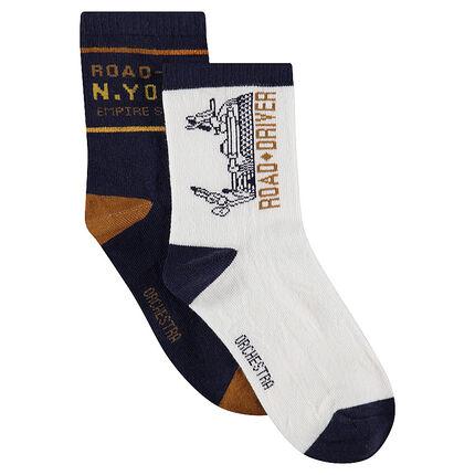 Lot de 2 paires de chaussettes assorties avec motifs en jacquard blanc / bleu marine
