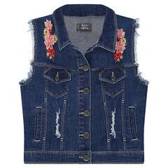 Junior - Veste en jeans sans manches avec fleurs brodées