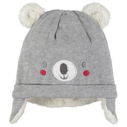 Bonnet en tricot Koala doublé sherpa à oreilles en relief