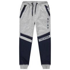 Pantalon de jogging en molleton bicolore à inscriptions printées