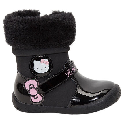 dab5b7c47c7 Bottines noires vernies Hello Kitty avec col en fausse fourrure ...