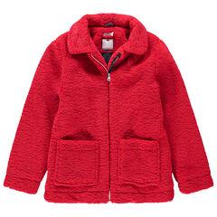 Junior - Veste zippée en sherpa rouge doublée sherpa
