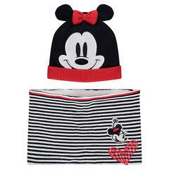 Ensemble bonnet et écharpe motif Minnie ©Disney doublés sherpa