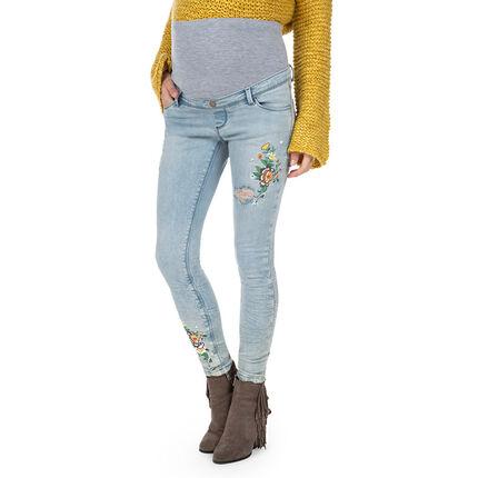 Jeans slim de grossesse effet used avec fleurs brodées