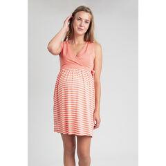 Robe manches courtes de grossesse et d'allaitement à rayures