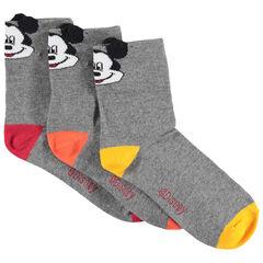 Lot de 3 paires de chaussettes assorties Bord-côte Mickey Disney