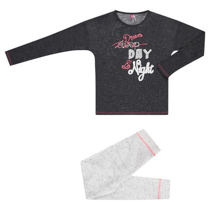 Junior - Pyjama long bicolore en molleton et jersey