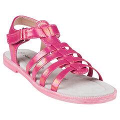 Nu-pieds coloris fushia effet nacré du 28 au 35