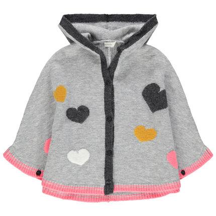 Gilet tricot à capuche motifs coeur
