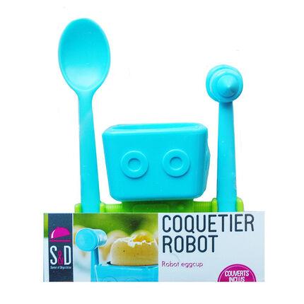 Kit coquetier Robot - Bleu