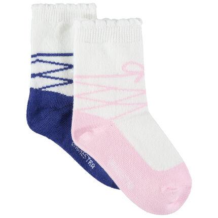 Lot de 2 paires de chaussettes avec motif ballerine en jacquard