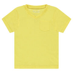 Tee-shirt manches courtes en slub uni avec poche