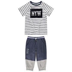 Junior - Tee-shirt manches courtes en jersey avec print en velours