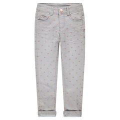 Jeans slim effet crinkle avec coeurs brillants printés all-over