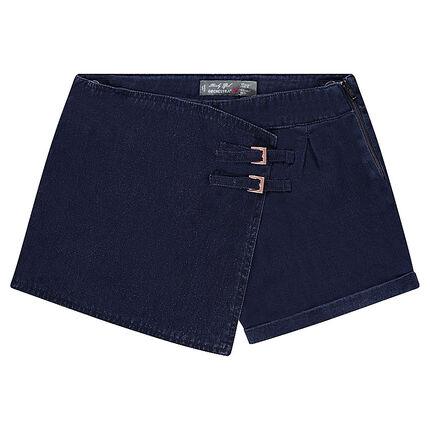Junior - Jupe short en toile effet jeans avec boucles
