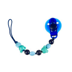 Attache sucette à perles - Bleu