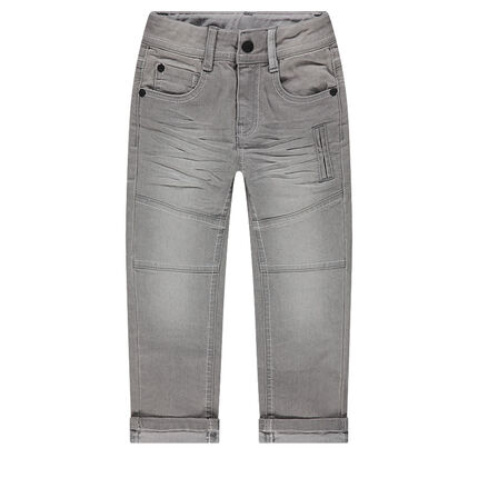 Jeans effet used et crinkle 6 poches