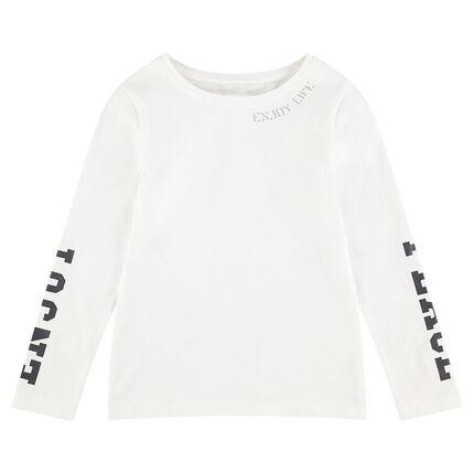 Tee-shirt manches longues avec inscriptions printées