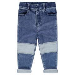 Jeans en denim like effet used avec ourson patché au dos