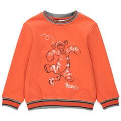 Sweat en molleton orange print Tigrou Disney devant et au dos