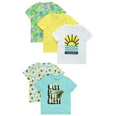 Lot de 5 t-shirts manches courtes imprimés / unis , Orchestra