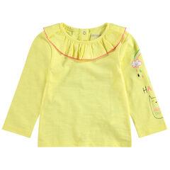 Tee-shirt manches longues en jersey avec col volanté et motifs printés