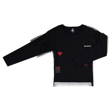 Tee-shirt manches longues en jersey avec tulle et badges ©Smiley