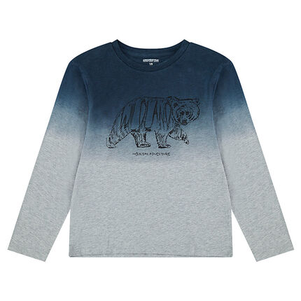 Junior - Tee-shirt manches longues en jersey effet tie and dye avec animal printé