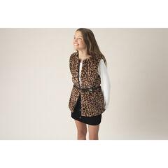Junior - Gilet en fausse fourrure effet léopard avec ceinture