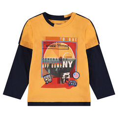 Tee-shirt manches longues effet 2 en 1 bicolore avec motif printé