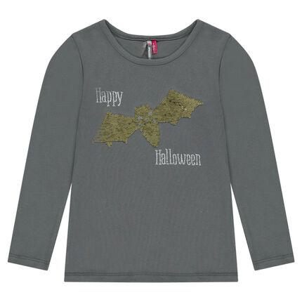 Tee-shirt spécial halloween avec print chauve-souris en sequins magiques
