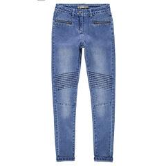 Junior - Jeans effet used avec poches zippées et jeux de plis