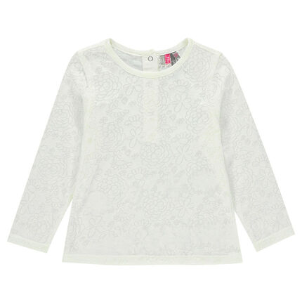 Tee-shirt manches longues en jersey dévoré imprimé fleurs